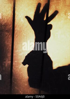 A man casting a shadow on a wall, counting on his hand. Number four. - Stock Photo