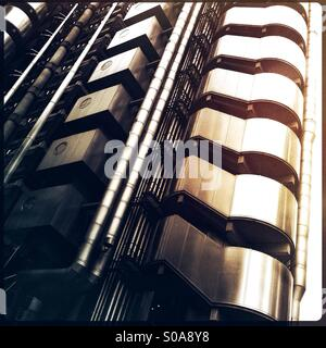 Detail from the Lloyd's Building, home of insurance institution Lloyd's of London in Lime Street, London, England. - Stock Photo