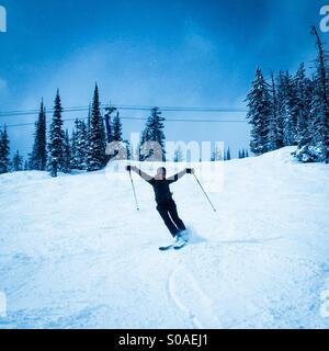 Woman skiing. - Stock Photo