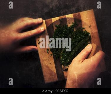 Traditional eskimo knife used in the kitchen to chop up parsley. - Stock Photo