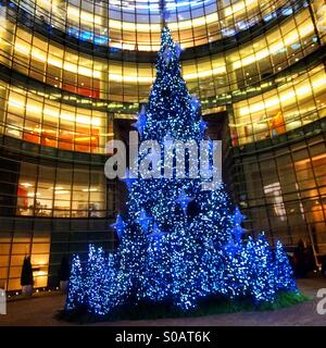 Christmas tree at Bloomburg Building in New York City - Stock Photo