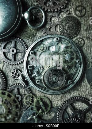 Pocket watches and gears. - Stock Photo