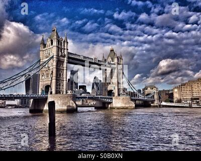 An HDR image of Tower Bridge, London, England. View from the South Bank of The River Thames. Photo Credit - COLIN - Stock Photo