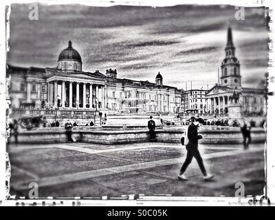 View of Trafalgar Square showing the National Gallery and St. Martin-in-the-fields church, City of Westminster, - Stock Photo