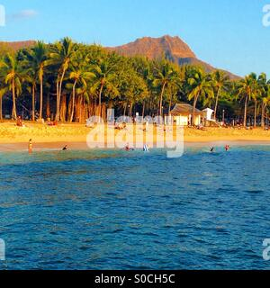 Diamond Head crater viewed from Waikiki Beach, Oahu, Hawaii, USA - Stock Photo