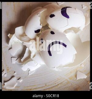 Sad egg shells - Stock Photo