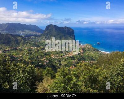 View looking down to Porto da Cruz on the Portuguese island of Madeira. - Stock Photo