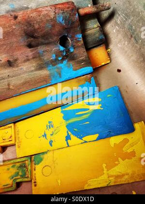 Screen printing supplies wait to be cleaned. - Stock Photo