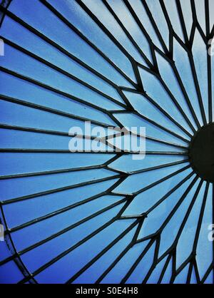 Detail of floral design in roof of glasshouse at Kibble Palace botanical gardens in Glasgow. - Stock Photo