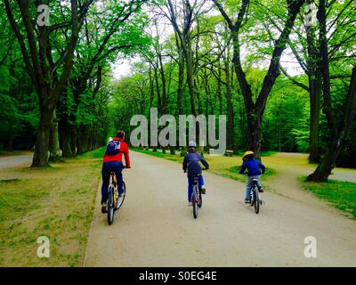 Mother with two sons riding a bike in alley - Stock Photo