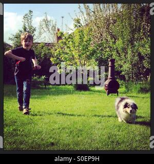 Boy and puppy running in the garden - Stock Photo