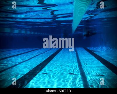 underwater view of two swimmers competing in adjacent lanes from far length of olympic size - Olympic Swimming Pool Lanes