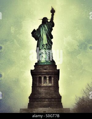 Rear view of The Statue of Liberty, New York, USA - Stock Photo