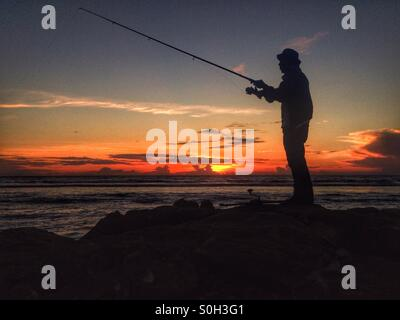 Lhoknga beach, aceh, indonesia. #fishing #visit_aceh #visit_indonesia #landscape #sunset - Stock Photo