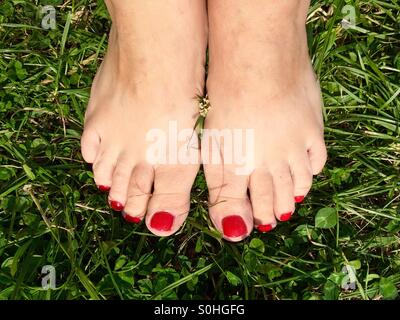Woman's feet with red nailpolish bare on the grass - Stock Photo