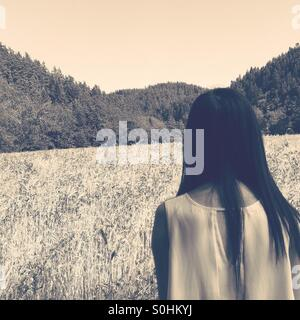 Girl in corfield - Stock Photo