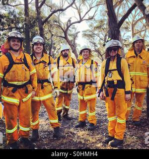 Australian bush fire or forest fire fighters on a training exercise in the southern highlands of New South Wales, - Stock Photo