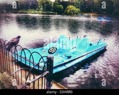 The Regent's Park boating lake, City of Westminster, Central London, England, United Kingdom, Europe - Stock Photo