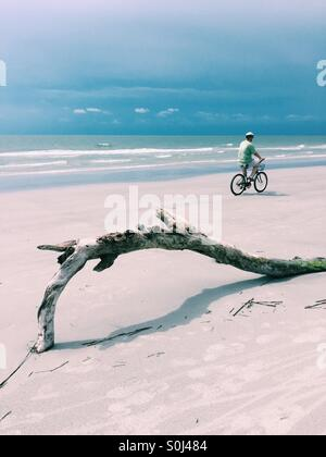 Man on bicycle riding past driftwood on the beach. - Stock Photo