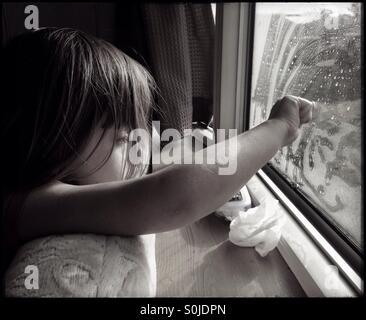 Rainy Caravan Holiday Waiting for Sunshine - Stock Photo
