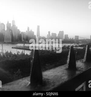 Brooklyn Promenade in Black and White - Stock Photo
