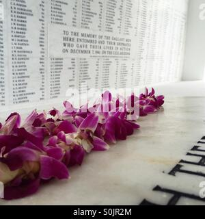 Flowers at USS Arizona Memorial - Stock Photo