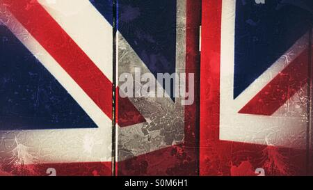 Union Jack pattern on a folding screen - Stock Photo