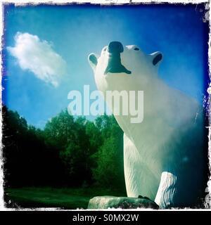 Polar bear statue Highland Wildlife Park Kingussie Scotland - Stock Photo