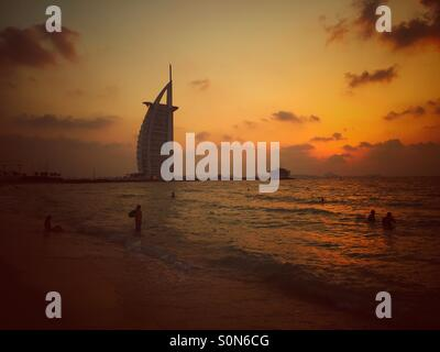 Burj al Arab Jumeirah beach Dubai UAE - Stock Photo