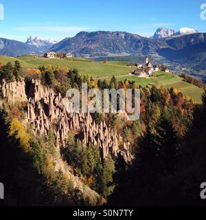 Earth pyramids in Renon - Ritten, near Bolzano, South Tyrol, Italy - Stock Photo