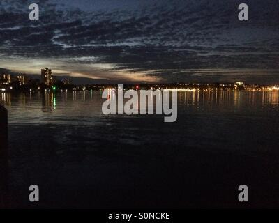 Perth, Western Australia, at night over the Swan River - Stock Photo