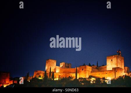Alhambra, Granada, Spain. insights from Plaza de los Carvajales - Stock Photo