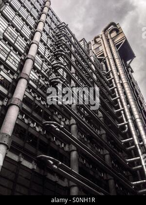 The Lloyds building, sometimes known as the inside out building is home of the insurance institution Lloyds of London. - Stock Photo