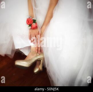 Bride shoes wedding day - Stock Photo