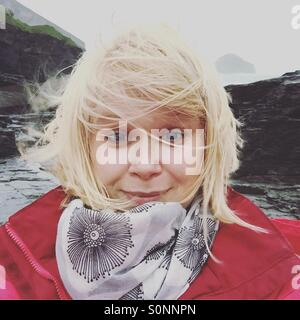 Selfie in the wind - Stock Photo
