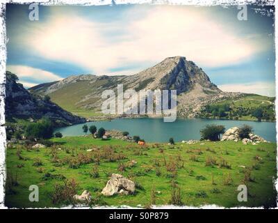 View of Lake Enol in Covadonga, Asturias - Spain - Stock Photo