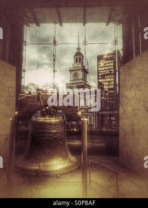 Liberty Bell and Independence Hall, Philadelphia, Pennsylvania - Stock Photo