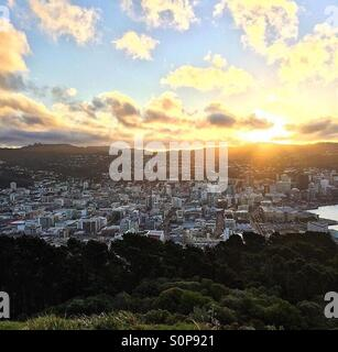 A sunset in Wellington, New Zealand from Mount Victoria. - Stock Photo
