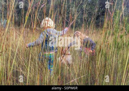 Kids playing in long grass - Stock Photo