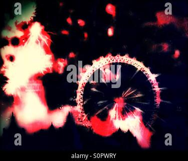 2016 New Year's Eve fireworks from the London Eye along the River Thames, Central London, England, United Kingdom, - Stock Photo
