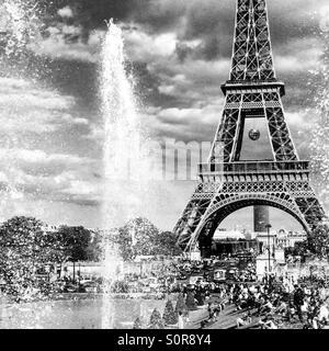 The Eiffel Tower from Jardins du Trocadero - Stock Photo