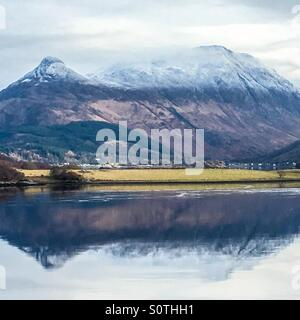 A view across Loch Leven towards Glencoe in the Scottish highlands - Stock Photo