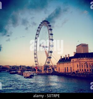 The London Eye, Ferris Wheel on the South Bank of the River Thames, London, UK. - Stock Photo
