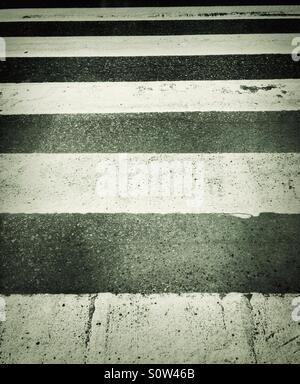 Zebra crossing worn out in Sweden - Stock Photo