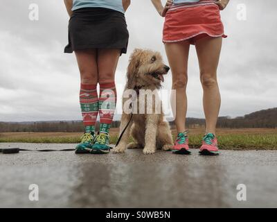 Two runner girls and a fluffy mutt - Stock Photo