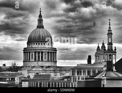 Dome of Saint Paul's cathedral against a dramatic, stormy skyline. London, U.K. - Stock Photo