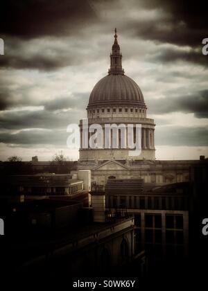 Dome of Saint Pauls cathedral, London, U.K. - Stock Photo