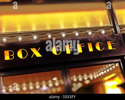 Broadway box office theater sign in time square, New York City - Stock Photo