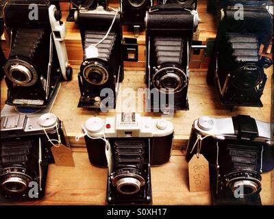 Vintage cameras on display at a market in Greenwich, London - Stock Photo