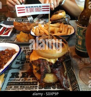 Donut burger - Stock Photo